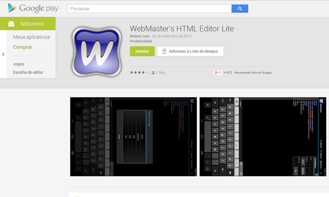 HTML Editor Lite para Android