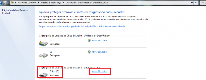 Ativando BitLocker no Pendrive